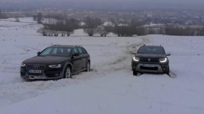 Care este mai tare: 4WD de la Dacia sau quattro de la Audi? Momentul adevărului